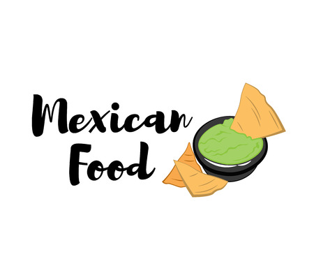 chips and salsa: Nachos Mexico Food. Traditional Mexican Cuisine. An Isolated Object. Illustration