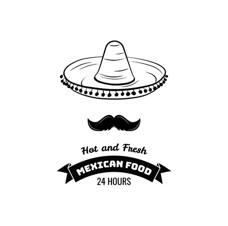 Sombrero and Mustache Label. Mexico Food. Traditional Mexican Cuisine sign for the restaurant. Illustration Vector Illustration