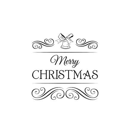 filigree swirl: Christmas bell. Greeting Card., Filigree Swirl Decorated Illustration
