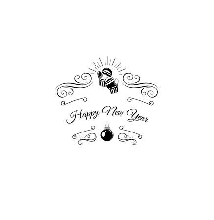 모직 장갑. 메리 크리스마스와 새 해 복 많이 받으세요 레이블입니다. 인사말 카드 서식 파일. 선조체 컬, 소용돌이 및 화려한 장식 스크롤. 삽화 스톡 콘텐츠 - 65348215