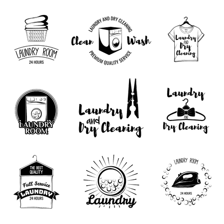 Set of stylish laundry emblems, labels and designed elements.