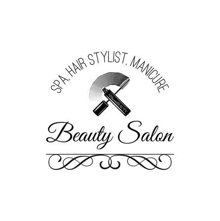 eye makeup: Beauty Salon Label. Mascara for Eyelashes. Eye Makeup. Badge. Filigree Swirls and Curls Decorations Vector Illustration. Isolated Illustration
