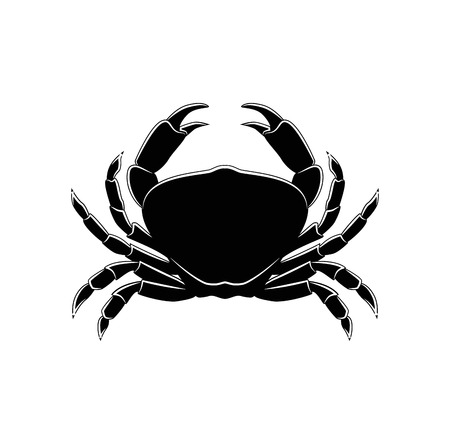The Silhouette Of A Crab. Vector Illustration. Isolated On White BAckground Illustration