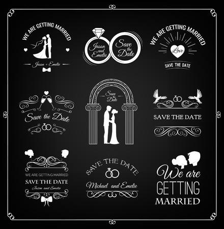 filigree scroll: Set of wedding invitation template. vintage design elements. Wedding set: dress, couple, ring, invitation, bride and groom. Wedding couple: bride and groom. Filigree scroll swirl vintage frame