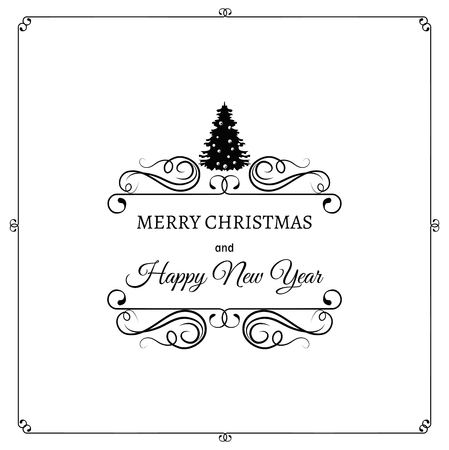 filigree scroll: Merry Christmas And A Happy New Year. Greeting Card. Christmas Tree. Filigree scroll and frame divider decorated. Ornate Frame. Vector Illustration.