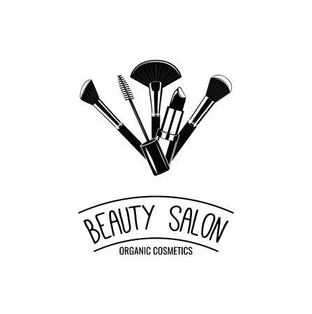 ビューティー サロン バッジ。化粧ブラシのロゴのベクトル図  イラスト・ベクター素材