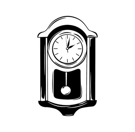 reloj de pendulo: Antique wall pendulum clock icon. Vector illustration isolated on white background