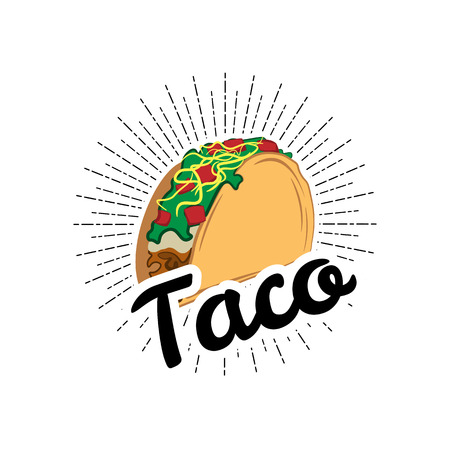 Taco Traditional mexican food . Label template or concept. Can be used to design menu, business cards, posters. Vector illustration isolated on white background