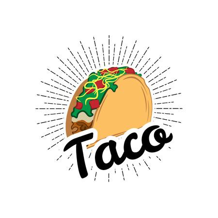 Taco Traditionelles mexikanisches Essen. Label Vorlage oder Konzept. Kann verwendet werden, um Menü, Visitenkarten, Plakate zu entwerfen. Vektorillustration lokalisiert auf weißem Hintergrund Standard-Bild - 69351321