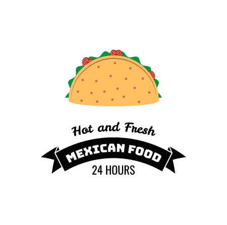Taco Traditional Mexican Food . Label Template Or Concept. Can ...