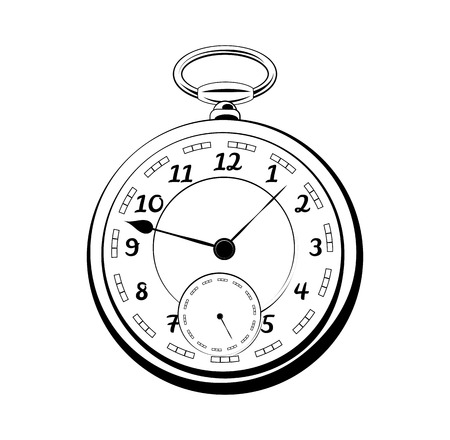 old vintage pocket watch. antique vector isolated on white background
