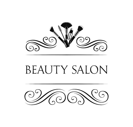 Beauty Salon Badge. Makeup Brushes Label Vector Illustration Isolated On White Background 免版税图像 - 69351372
