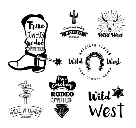 american rodeo: Vector set of cowboy labels in vintage style. Wild west, sheriff, american rodeo. Design elements, icons, logo, emblems and badges isolated on white background.