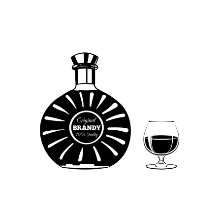 bourbon: bottle of cognac or brandy and glass. Isolated on white background vector