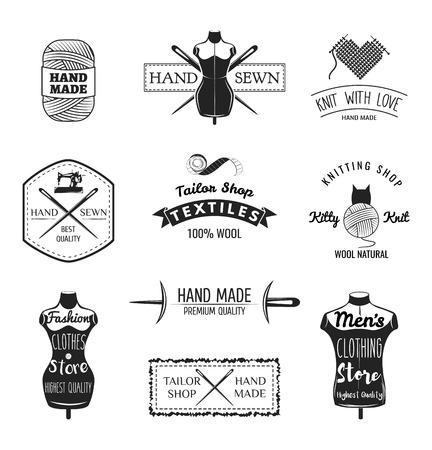 sew: Set of vintage tailor labels, emblems and designed elements. Tailor shop theme. Isolated Illustration