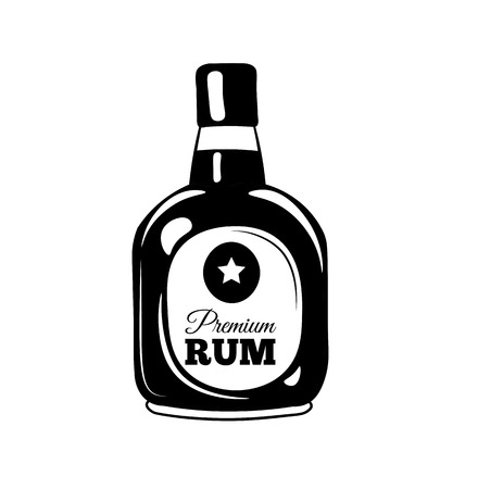 bourbon: Bottle of rum sketch. Hand-drawn cartoon pirate icon. Doodle drawing. Vector illustration isolated on white background