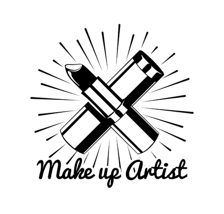 make up artist: Lipstick make up artist badge. Vector Illustration. Isolated on white background