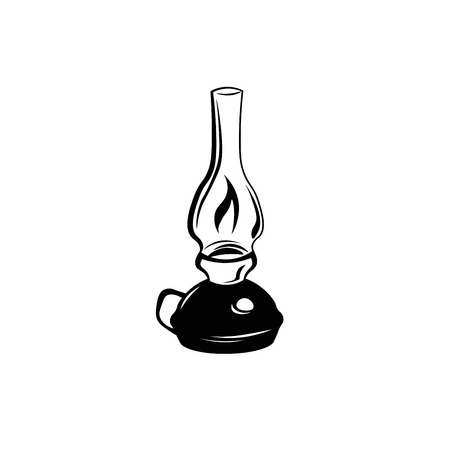 Kerosene lamp. Vintage paraffin lamp. Doodle style. Isolated on white. Vector Illustration