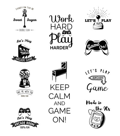 Vector video games labels set. Arcade game room. Let s play videogame. Gum machine. gumball. Arcade. Video games and Entertainment. Slot Machines. Set of Labels and Badges.  イラスト・ベクター素材