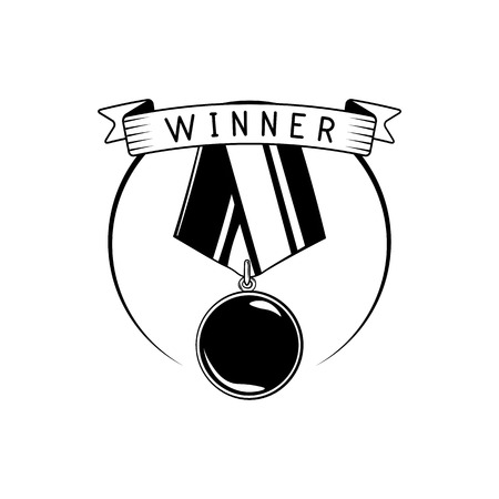 conquering: Blank winner award medal with ribbon illustration isolated on white background
