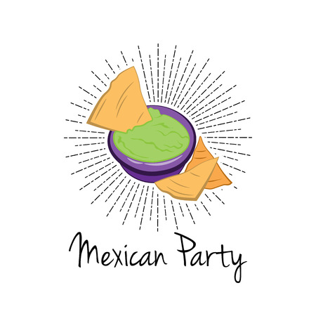 dipping: Nachos With Salsa Sauce. illustration on white background, isolated. Mexico Food. Traditional Mexican Cuisine Vector Illustration