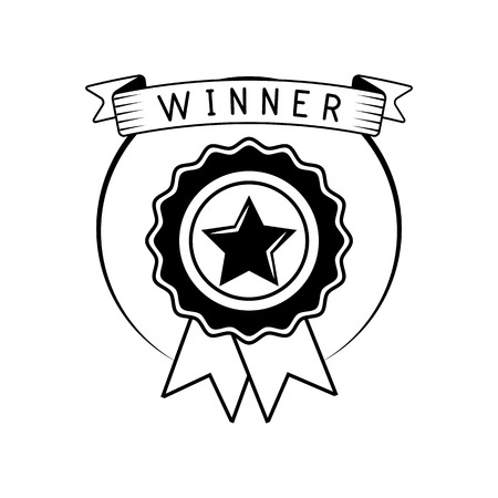 Badge winner award with ribbon. Vector illustration isolated on white background