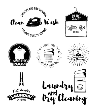 laundry room: vector set of laundry labels, emblems and design elements. laundry set washing machine, t-shirt, basket with dirty clothes, dry cleaning, hanger, iron, laundry room, washer Illustration