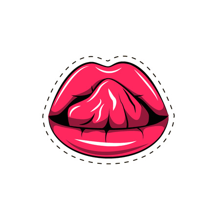 prankster: Pink lips tongue pop art retro poster element. Vector illustration isolated on white background