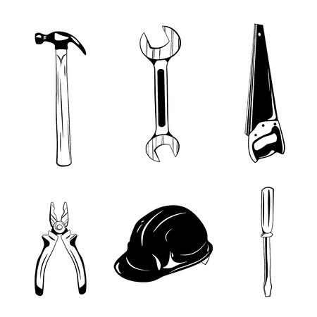 Worker tools icons. Vector illustration isolated on white background
