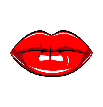 Pop art lips isolated. Warhol style poster. Vector. Black line, white dot pattern, blue background, red color, raster effect. Fashion illustration. Hand drawn. Comics story. Banner for branding Ilustracja