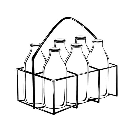 milk bottle case in black outline-vector illustration drawing