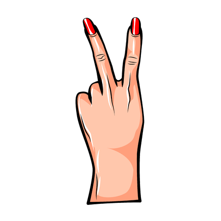 Vector illustration of fashion fun patch sticker with girls two fingers and palm as peace gesture in cartoon comic style. Female hand Иллюстрация