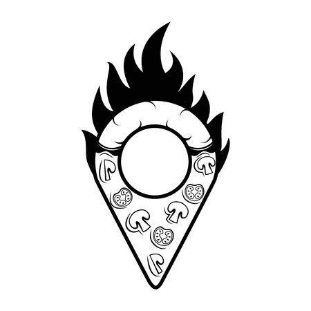 Pizzeria map pointer. Slice of pizza. Italian cuisine. Food Delivery. Vector illustration Illustration