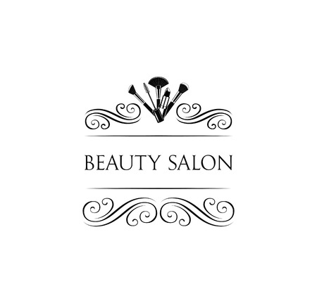 Beauty Salon Badge. Makeup Brushes. Make Up Artist badge Vector Illustration