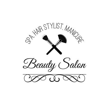 Beauty Salon Badge. Makeup Brushes Label Vector Illustration Isolated On White Background Stok Fotoğraf - 72105046