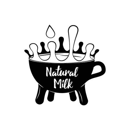 Milk cup splash. Vector illustration isolated on white background