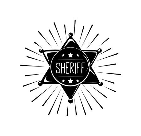 antiquated: Sheriff star isolated on white, vector illustration, eps-10