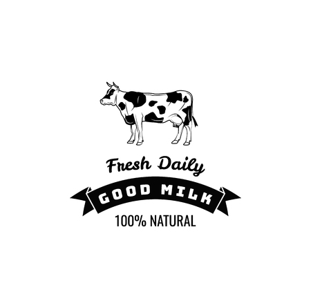 Natural milk sticker with cow. Label and badge illustration isolated on white background Ilustrace