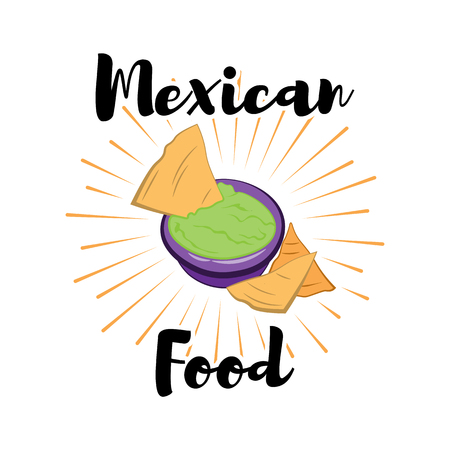 chips and salsa: Tortilla chip or nachos tortillas with guacamole dip bowl flat color icon for apps and websites. illustration