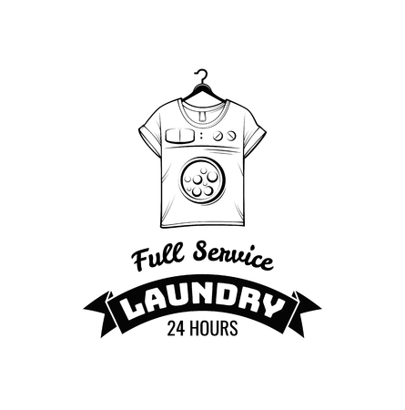 T-shirt machine concept. laundry and dry cleaning badge. Vector illustration isolated on white background Illustration