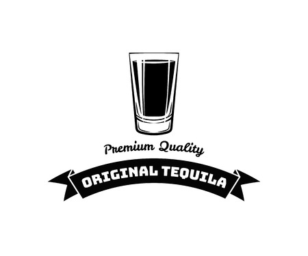 original single: Whiskey Shot Glass. Alcohol badge and label. Vector Illustration isolated on white
