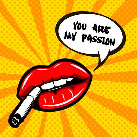 polkadot: Woman lips illustration - You are my passion.
