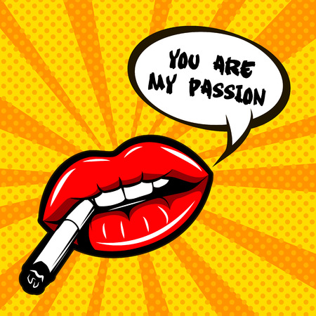 Woman lips illustration - You are my passion.