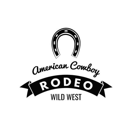 Ferro di cavallo. Etichetta Wild West. Badge della concorrenza Rodeo. Illustrazione vettoriale occidentale Archivio Fotografico - 75586510