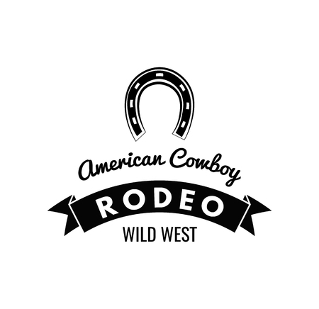 Horseshoe. Wild West Label. Rodeo Competition Badge. Western Illustration Vector 免版税图像 - 75586510