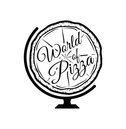 Pizza Globe in thin line style illustration. Stock Illustratie