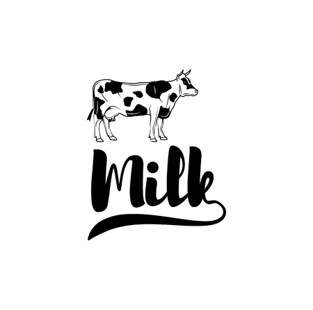 Cow Milk label illustration. Illustration