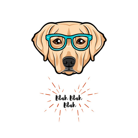 Vector images of cute portrait of nerdy dog Labrador wearing glasses isolated on white background.