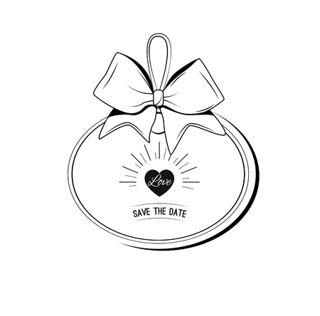 Wedding ivintation ribbon bow card . Save the date heart. Vector illustration isolated on white background