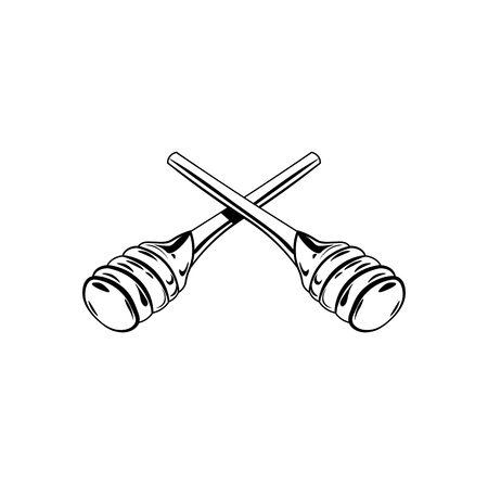 Wooden honey dipper, sketch style vector illustration isolated on white background.